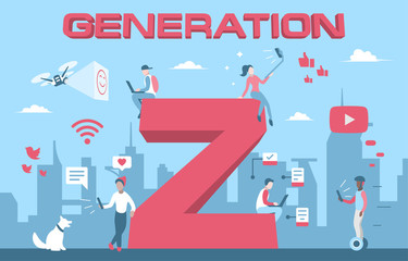 Colorful vector illustration generation Z of young people Wall mural