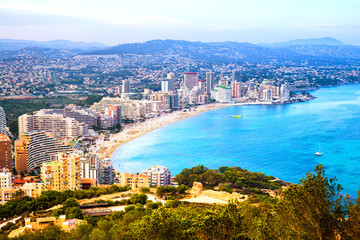 Wall Mural - Aerial view of Calpe, Costa Blanca. Popular summer resort in Spain