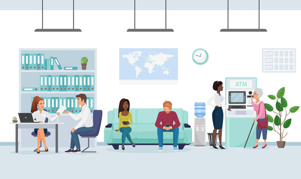 People in bank flat vector illustration. Customer talking with banker, getting loan, credit cartoon characters. Secretary helping senior lady with ATM money withdrawal. Bank office waiting room