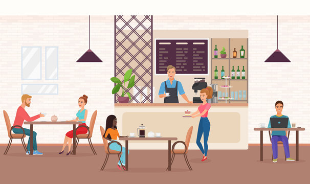 People in cafe flat vector illustration. Girlfriends meeting in restaurant, eating cake. Couple sitting at table, talking and drinking tea. Man working, coffee shop barista standing at counter