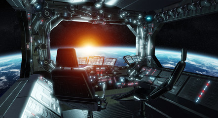Fototapete - Spaceship grunge interior control room with view on space 3D rendering elements of this image furnished by NASA