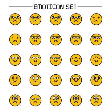 yellow face emoticon icon set