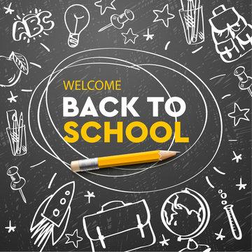 Back to school banner, doodle on chalkboard background, vector illustration.