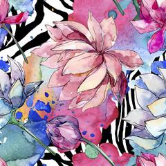 Zelfklevend Fotobehang Abstract bloemen Lotus floral botanical flowers. Watercolor background illustration set. Seamless background pattern.