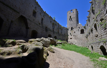 Ruins of an old castle as they are often seen in Central Europe.