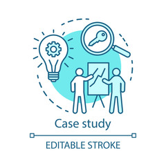 Case study turquoise concept icon. Decision making content idea thin line illustration. Research method. Business training, presentation, report. Vector isolated outline drawing. Editable stroke