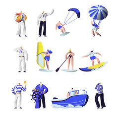 Summer Time Extreme Sports and Sea Professions Set. Ship Crew Uniform, Captain, Sailors, Surfing, Sup Board, Paragliding, Motor Boat Riding, Sailing, Vacation, Leisure Cartoon Flat Vector Illustration