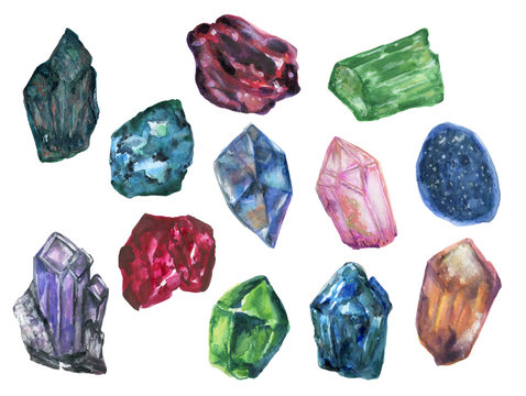 Watercolor gouache isolate colorful Crytal cluster Gemstone Stone elements on white background