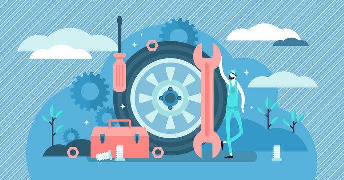 Mechanic vector illustration. Flat tiny tech occupation job persons concept