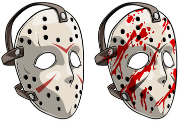 Cartoon scary halloween goalie hockey mask with blood spots. Isolated on white background. Vector icon set.