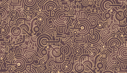 Abstract seamless pattern. Mechanic, technical. Bolts, gears, bolts.  Light and dark beige, brown color palette