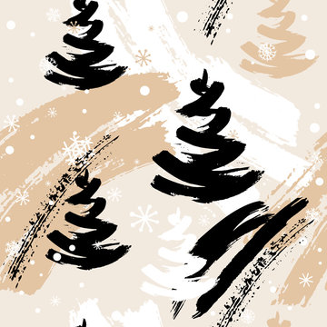Seamless winter pattern with abstract elements, hand drawn Christmas trees and snowflakes