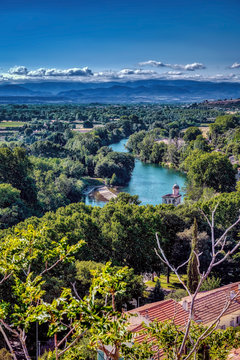 The River Orb seen from the Cathedral in Beziers city, Herault Department of France