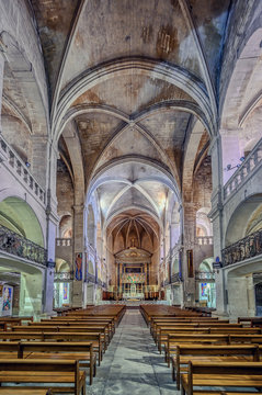 Interior of the Cathedral of Uzes, Gard Department, France
