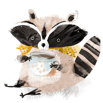 raccoon with a cup of tea