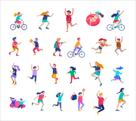 Illustration of children playing and doing activities, happy kids with gadgets, running, jumping and with bags and gift, ride a bike, swim, play ball