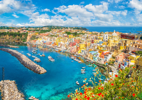 Wall mural Landscape with colorful houses on Procida island, Italy