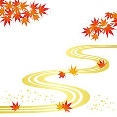 秋 紅葉 流水 和風背景