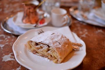Close up of Apfelstrudel; Cafe Central;Vienna;Austria