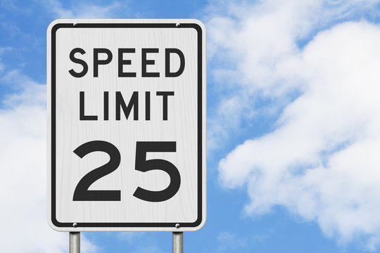 US 25 mph Speed Limit sign