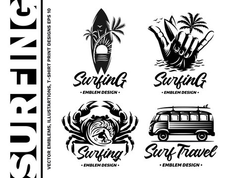 Surfing emblems, illustrations, t-shirt designs vector collections on white background