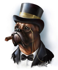 Digital portrait of a red dog breed boxer in the image of a rich millionaire aristocrat, dressed in a tuxedo and cylinder hat isolated on white..