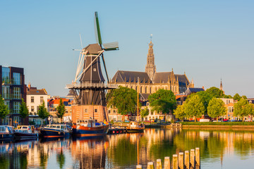 Skyline of Haarlem, North Holland, Netherlands, with Windmill