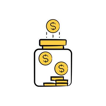 money and jar icon yellow hand drawn theme