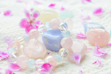 gem stones and bracelet with flower