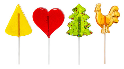 Fototapete - Set of lollipop of various shapes isolated on white