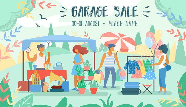 Advertising Poster Inscription Garage Sale Flat.