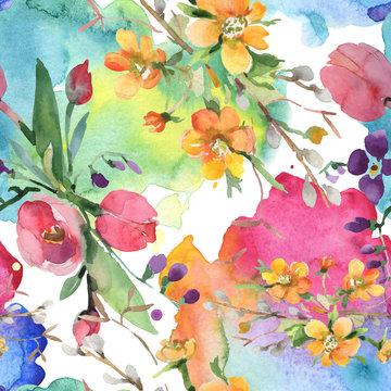 Bouquet floral botanical flowers. Watercolor background illustration set. Seamless background pattern.
