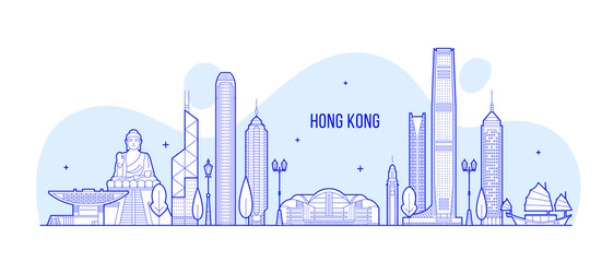 Wall Mural - Hong Kong skyline People Republic of China vector