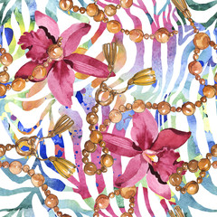 Les chaînes d& 39 or esquissent l& 39 illustration dans un élément isolé de style Aquarelle. Motif de fond sans couture.