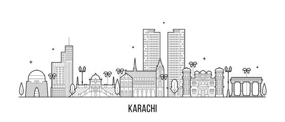 Karachi skyline Pakistan city vector linear art Fototapete