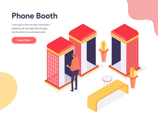 Phone Booth Illustration Concept. Isometric design concept of web page design for website and mobile website.Vector illustration