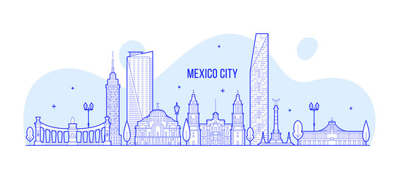 Wall Mural - Mexico city skyline Mexico vector linear art