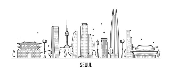 Wall Mural - Seoul skyline, South Korea vector linear art