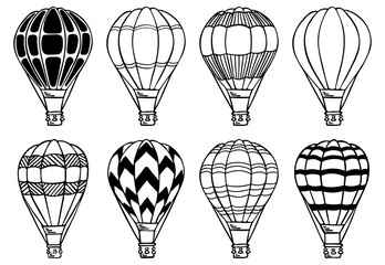 Hot air balloons set. Vector illustration.  Aerostat for decoration for holidays, travel, greeting cards, wedding, invitations, summer, holidays and greetings,  scrapbooking and wrapping paper