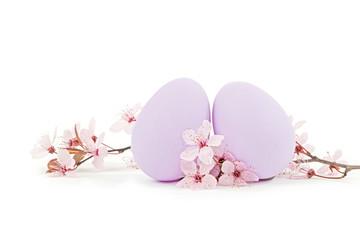 zwei lila Ostereier mit frühlingsbühten