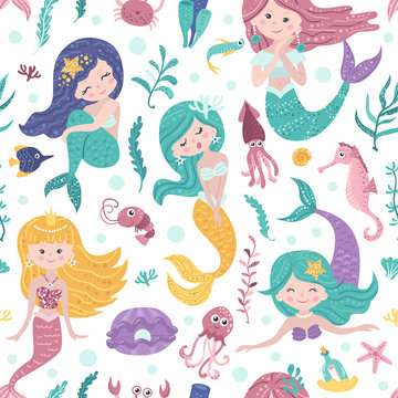 Seamless pattern with cute mermaids, seaweed and fishes