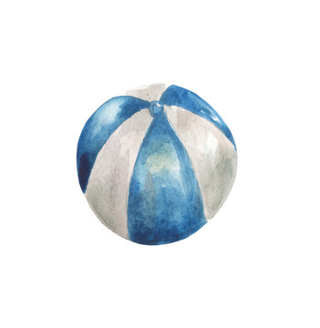 Watercolor blue and white beach ball on a white background. For design compositions on the theme of summer holidays, vacations, holidays on the ocean, sea or near the pool.