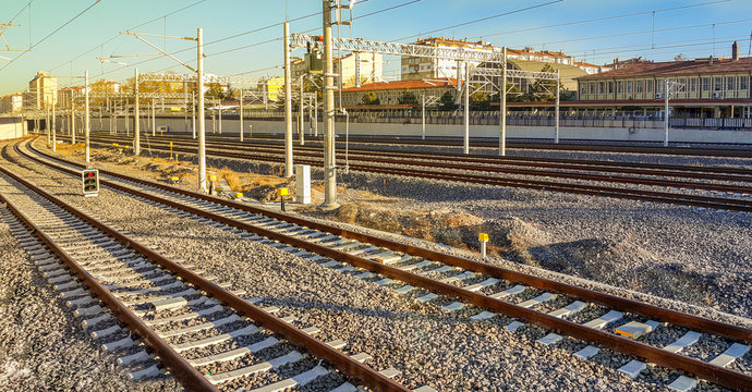 Railway station and transporting system in Eskisehir at sunset