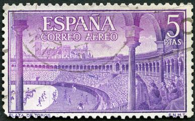 SPAIN - 1960: shows Bull ring, Spanish style bullfighting, corrida