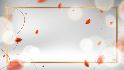Fall vector design. Luxury abstract background with red leaves and golden frame elegant decoration.