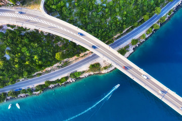 Croatia. Aerial view on bridge above sea. Highway above water. View from a drone. Natural landscape in summer time from air. Travel - image