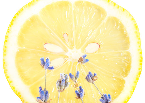 Great yellow lemon with lavender on a white isolated background
