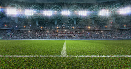 Football soccer sport stadium field with green grass, tribunes full of fans, spotlights, flashes illumination. Crowded football soccer arena for championship at night. Sports design background. 3D
