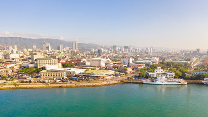 Wall Murals Havana Cityscape in the morning. Streets and seaport of the city of Cebu, Philippines, top view. Panorama of the city with houses and business centers.