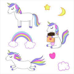Vector illustration. Three different cute unicorns, star, moon, rainbow, cloud and heart. Set of unicorns. White background. Sweet illustration for kids.